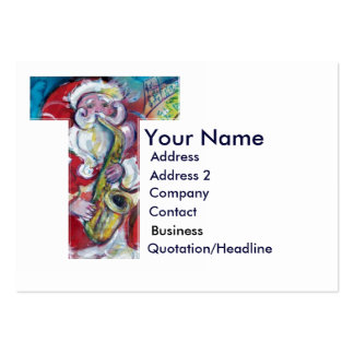 CHRISTMAS T LETTER / SANTA CLAUS WITH SAX LARGE BUSINESS CARDS (Pack OF 100)