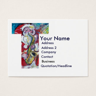 CHRISTMAS T LETTER / SANTA CLAUS WITH SAX BUSINESS CARD