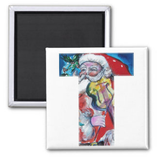 CHRISTMAS T LETTER / SANTA  WITH VIOLIN MONOGRAM 2 INCH SQUARE MAGNET