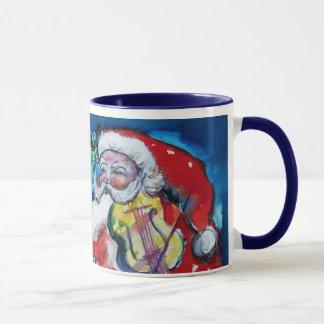 CHRISTMAS T LETTER / SANTA  WITH VIOLIN MONOGRAM MUG