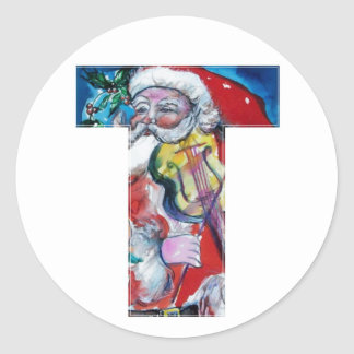 CHRISTMAS T LETTER  / SANTA WITH VIOLIN MONOGRAM ROUND STICKERS
