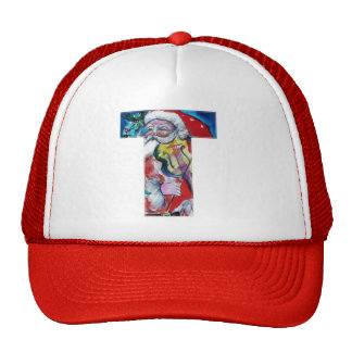 CHRISTMAS T LETTER  / SANTA WITH VIOLIN MONOGRAM TRUCKER HAT