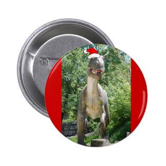 Christmas T-Rex Dinosaur 2 Inch Round Button