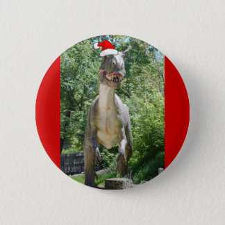 Christmas T-Rex Dinosaur Pinback Button