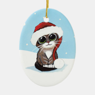 Christmas Tabby Kitten in a Santa Hat Double-Sided Oval Ceramic Christmas Ornament