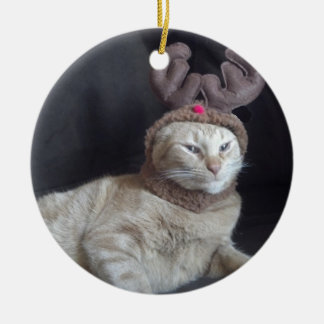 Christmas Tabby Reindeer Ornament