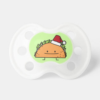 Christmas Taco with Santa Hat Baby Pacifiers