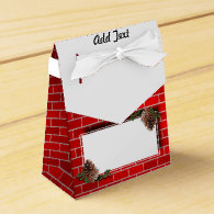 Christmas Tag With Red Brick Background Favor Boxes