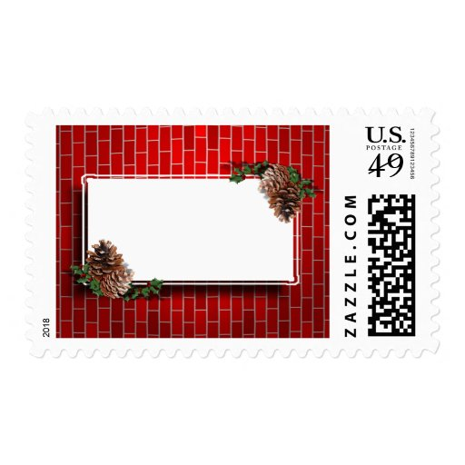 Christmas Tag With Red Brick Background Stamp