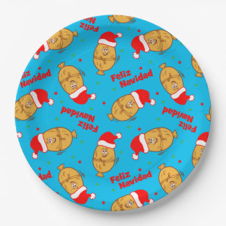 Christmas Tamales Pattern Paper Plate