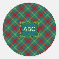Christmas Tartan 3 Classic Round Sticker