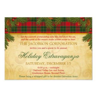 Christmas Tartan Plaid Corporate Holiday Party Card