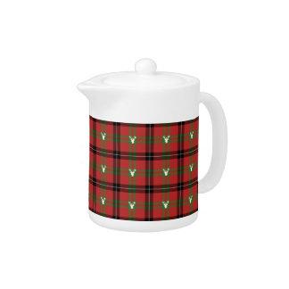 Christmas Tartan Plaid & Deer Holiday Teapot