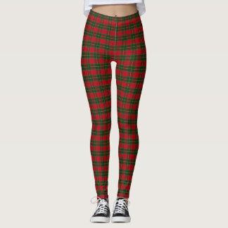 Christmas Tartan Scottish Plaid Red Green Leggings