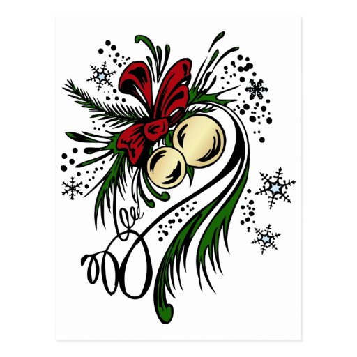 christmas tattoo postcard zazzle. Black Bedroom Furniture Sets. Home Design Ideas
