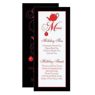 Christmas Tea Custom Menu Red Lace Card