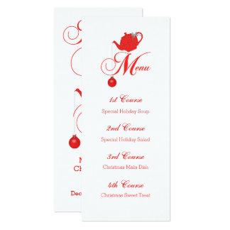 Christmas Tea Custom Menu Red Teapot Card