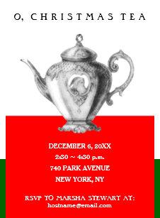 tea christmas invitations zazzle