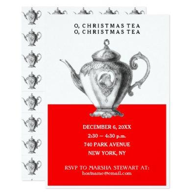 elegant teapot christmas tea party invitation zazzle com