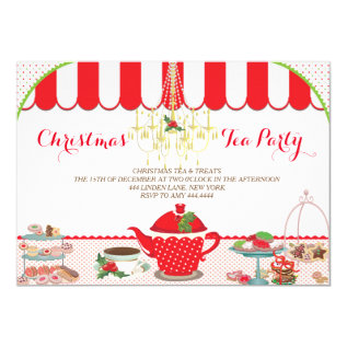 Christmas Tea Party Invitation at Zazzle