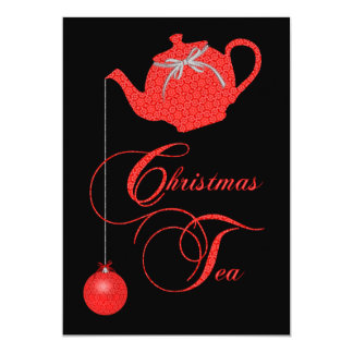 Christmas Tea Party, Red Lace 5x7 Paper Invitation Card