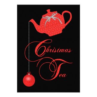 Christmas Tea Party Red Lace Invite