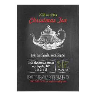 Christmas Tea Party Vintage Chalkboard Teapot Red Card at Zazzle