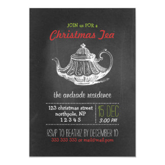 Christmas Tea Party Vintage Chalkboard Teapot Red 5x7 Paper Invitation Card