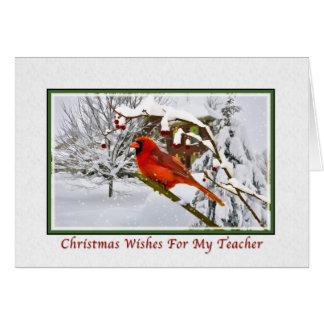 Christmas Teacher Cardinal Bird Snow Card