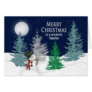 Christmas - Teacher -Night Snow & Snowman Card