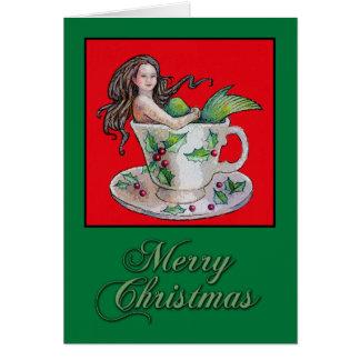 Christmas Teacup Mermaid Card