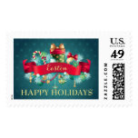 Christmas Teal Holiday Custom Stamps