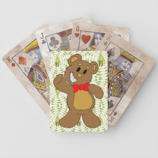 Christmas Teddy Bear Bicycle Playing Cards