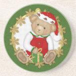 Christmas Teddy Bear - Boy Beverage Coasters