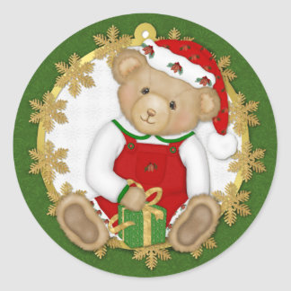 Christmas Teddy Bear - Boy Classic Round Sticker