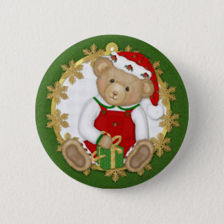 Christmas Teddy Bear - Boy Pinback Button