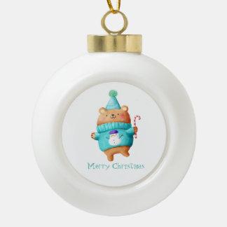 Christmas Teddy Bear Ceramic Ball Christmas Ornament
