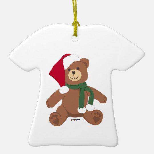 Christmas Teddy Bear Ceramic Ornament