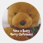 Christmas Teddy Bear Classic Round Sticker