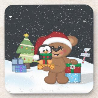 Christmas Teddy Bear Drink Coaster