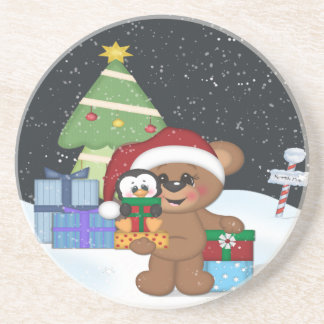 Christmas Teddy Bear Drink Coaster