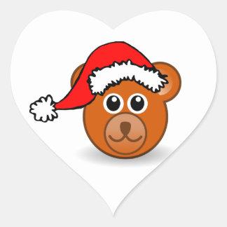 Christmas Teddy Bear Face with Santa Claus Hat Heart Sticker