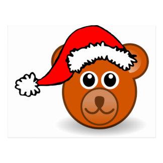 Christmas Teddy Bear Face with Santa Claus Hat Postcard