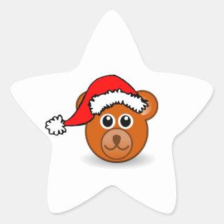 Christmas Teddy Bear Face with Santa Claus Hat Star Sticker