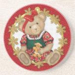 Christmas Teddy Bear - Girl Beverage Coasters