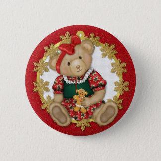 Christmas Teddy Bear - Girl Button