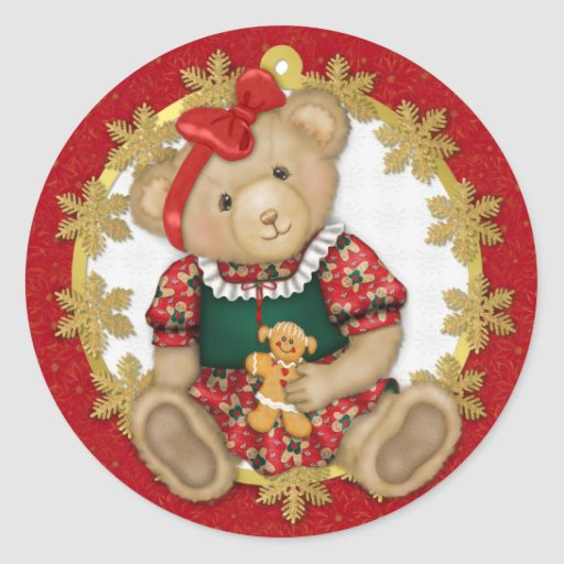 Christmas Teddy Bear - Girl Round Sticker
