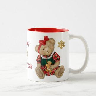 Christmas Teddy Bear - Girl Two-Tone Coffee Mug