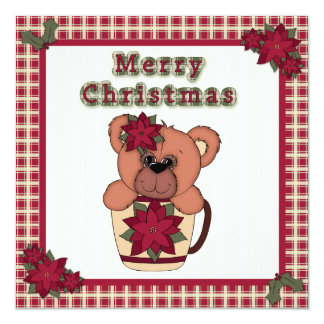 Christmas Teddy Bear in Cup Plaid Children's Party Card