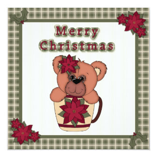 Christmas Teddy Bear in Cup with Plaid Party Card